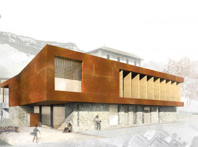 Construction de la médiathèque de Montbonnot Saint Martin